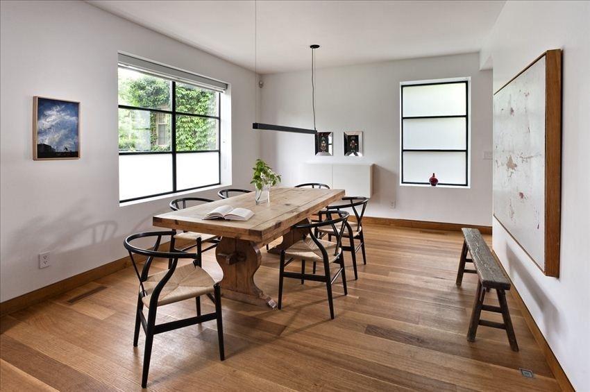 Dining room with hans wegner wishbone chairs wishbone