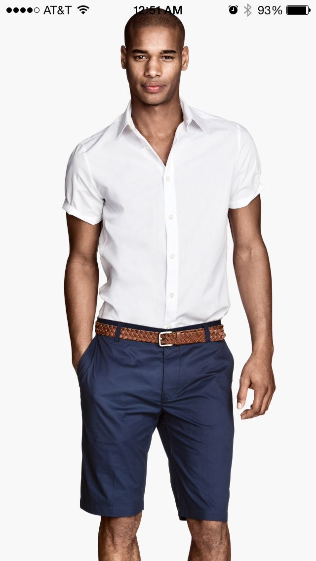 87089d431 Crisp half sleeve white button down and navy chino shorts   Style is ...