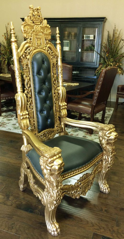carved mahogany king lion gothic throne chair gold finish black leatherette in home garden furniture chairs - Garden Furniture King