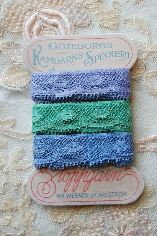 Collection of THREE 1 metre lengths antique French lace in glorious colors lavender jade and soft blue