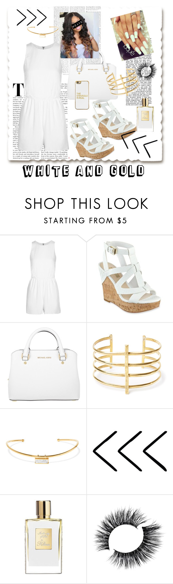"""All White Look"" by oyeket36 ❤ liked on Polyvore featuring Alice + Olivia, Michael Kors, BauXo, Isabel Marant and BaubleBar"