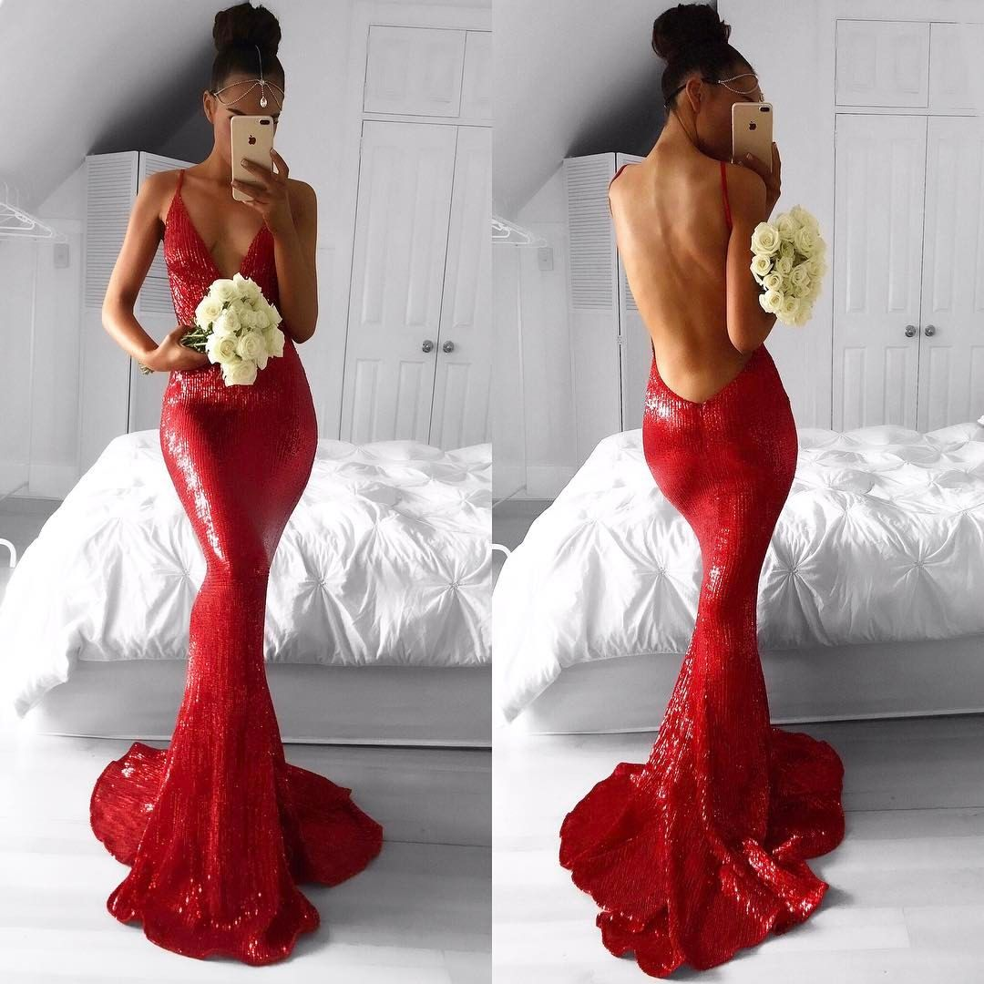 Sexy Red Deep V-Neck Mermaid Prom Dresses 2018 Backless Sequined Evening  Gowns 45a50ce99