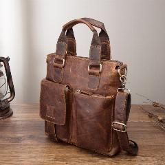 Photo of Men Quality Leather Antique Retro Business Briefcase 12″ Laptop Case Attache Portfolio Bag Tote Shoulder Messenger Bag B259