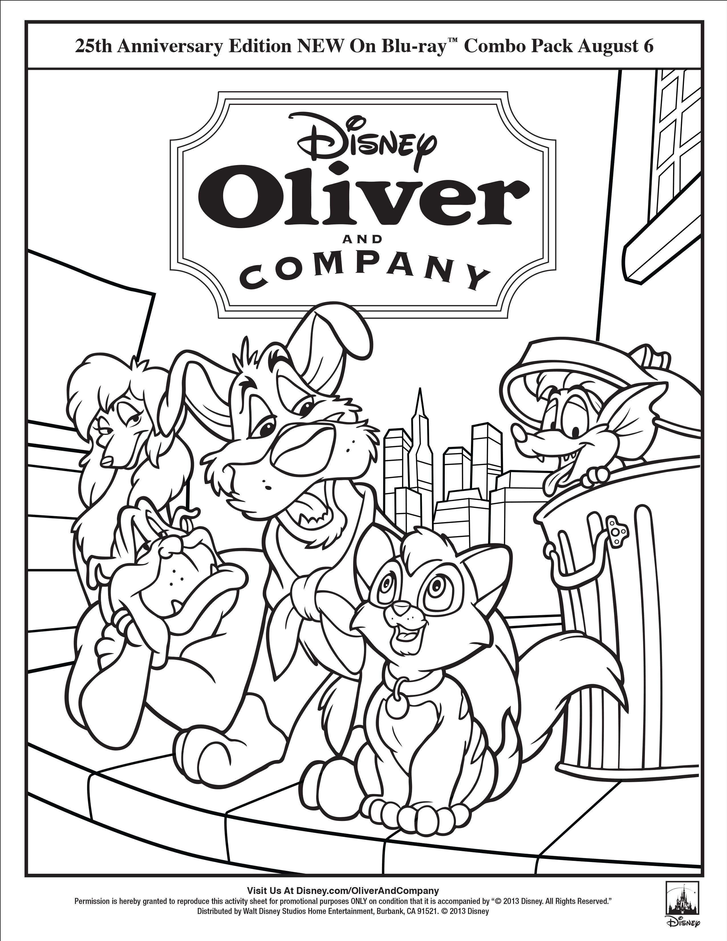 oliver and company coloring page oliver and company movie night disney movie night family movie night