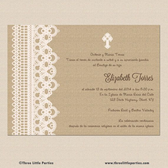 Spanish Baptism Invitation Printable por ThreeLittleParties, $1300