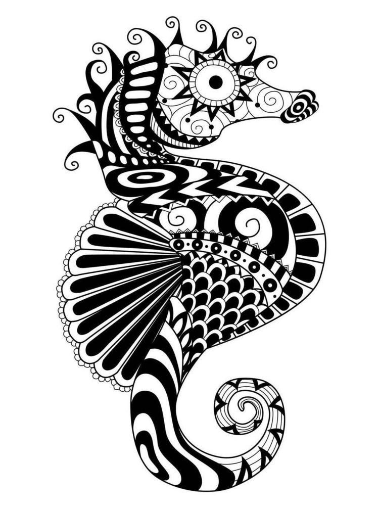 Zentangle Vorlagen Seepferd Originell Muster Malen Buntstifte Kinder Zentangle Vorlagen Wenn Du Mal Buch Zentangle