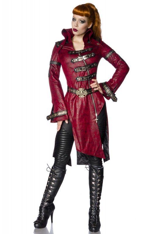 steampunk mantel damen rot