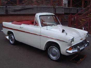 Beautiful Ford Anglia convertable - a rare car these days.