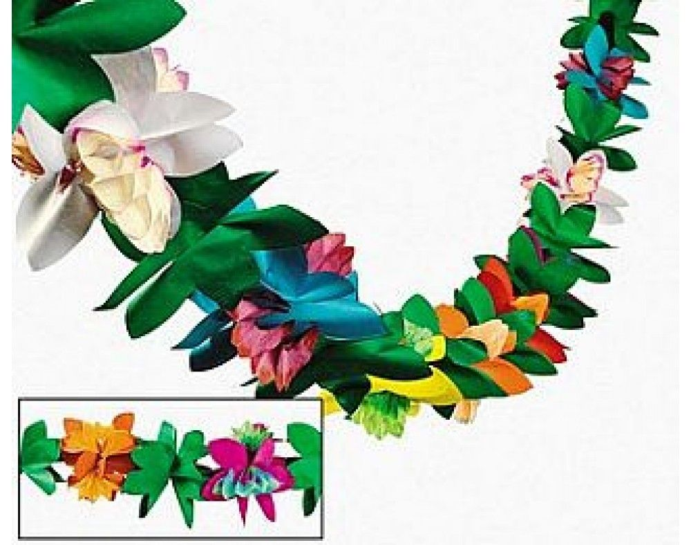 9ft Tissue Tropical Flower Garland Hawaiian Party Decoration