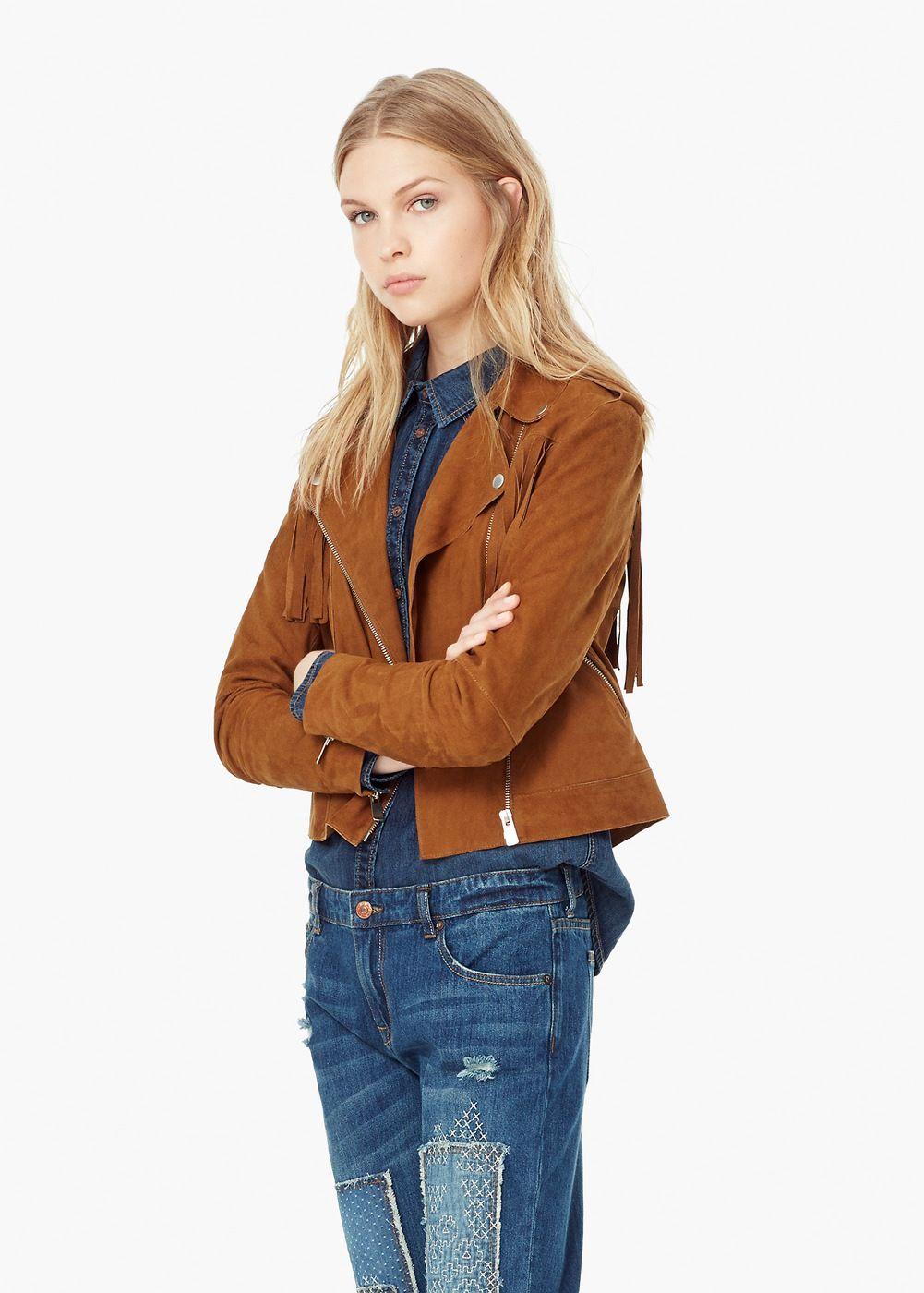899484a0 Mango Fringed suede jacket SALE $135 Suede Coat, Suede Jacket, Leather  Jacket, Cozy