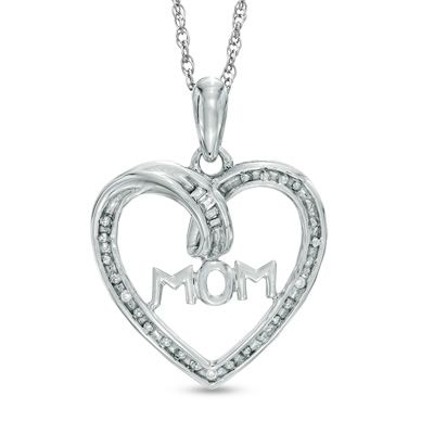 Diamond accent mom heart pendant in sterling silver everyday diamond accent mom heart pendant in sterling silver mozeypictures Image collections