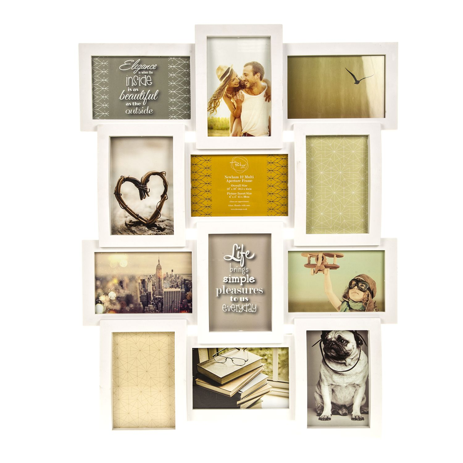 display your cherished memories in this bw newham 12 multi aperture frame - Multi Photo Frames