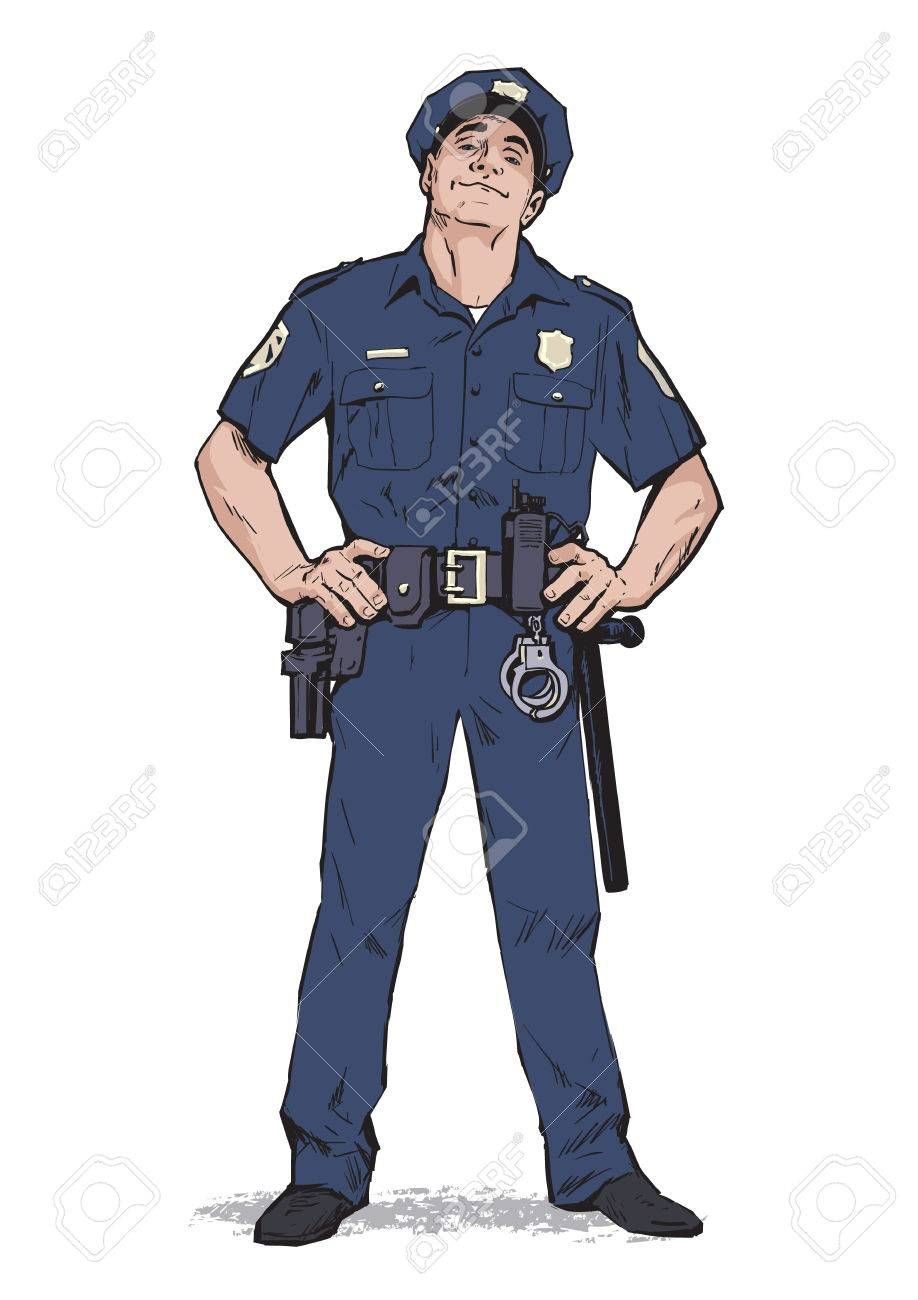 Content policeman in uniform. Blue form. Confident cop. Self-confident man in a blue uniform. The guy in the cap. Happy policeman. Strong character. Catch the criminals. Vector illustration. , #sponsored, #cop, #Confident, #man, #confident, #form