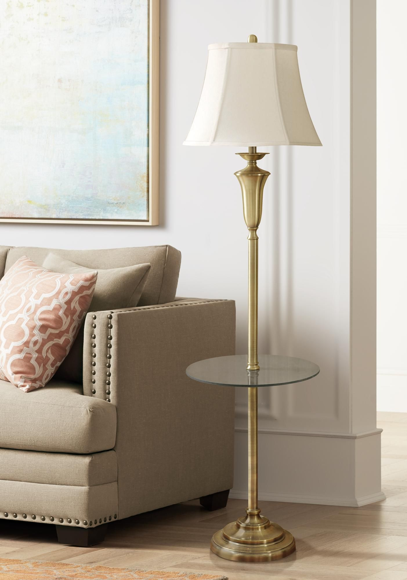 Floor Lamps Staicey Brushed Brass Tray Table Floor Lamp Floor Lamp Table Brass Tray Table Floor Lamp
