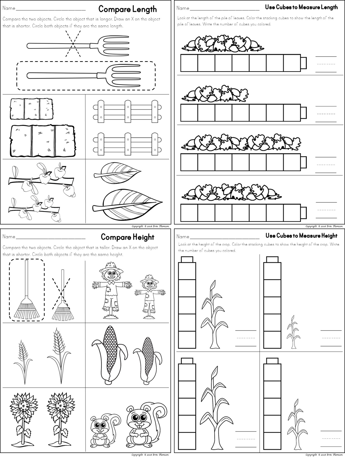 Workbooks measuring length worksheets : Kindergarten Math ~ Fall Measuring | Kindergarten math, Math and ...