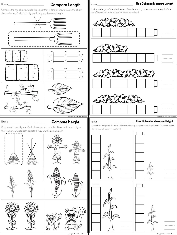 Kindergarten Math ~ Fall Themed Measuring by length [ 1500 x 1134 Pixel ]