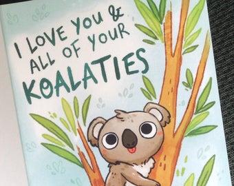 Kawaii Koala Etsy Funny Anniversary Cards Unicorn Card Bee Cards