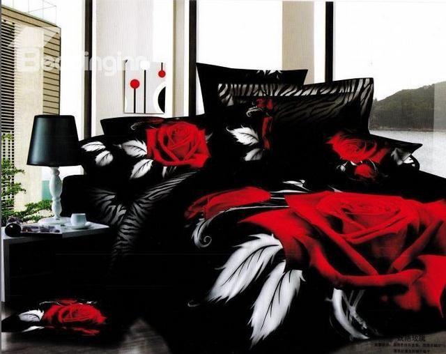 96 39 Unique Wedding 3d Big Red Rose Printed Black 4pcs Bedding