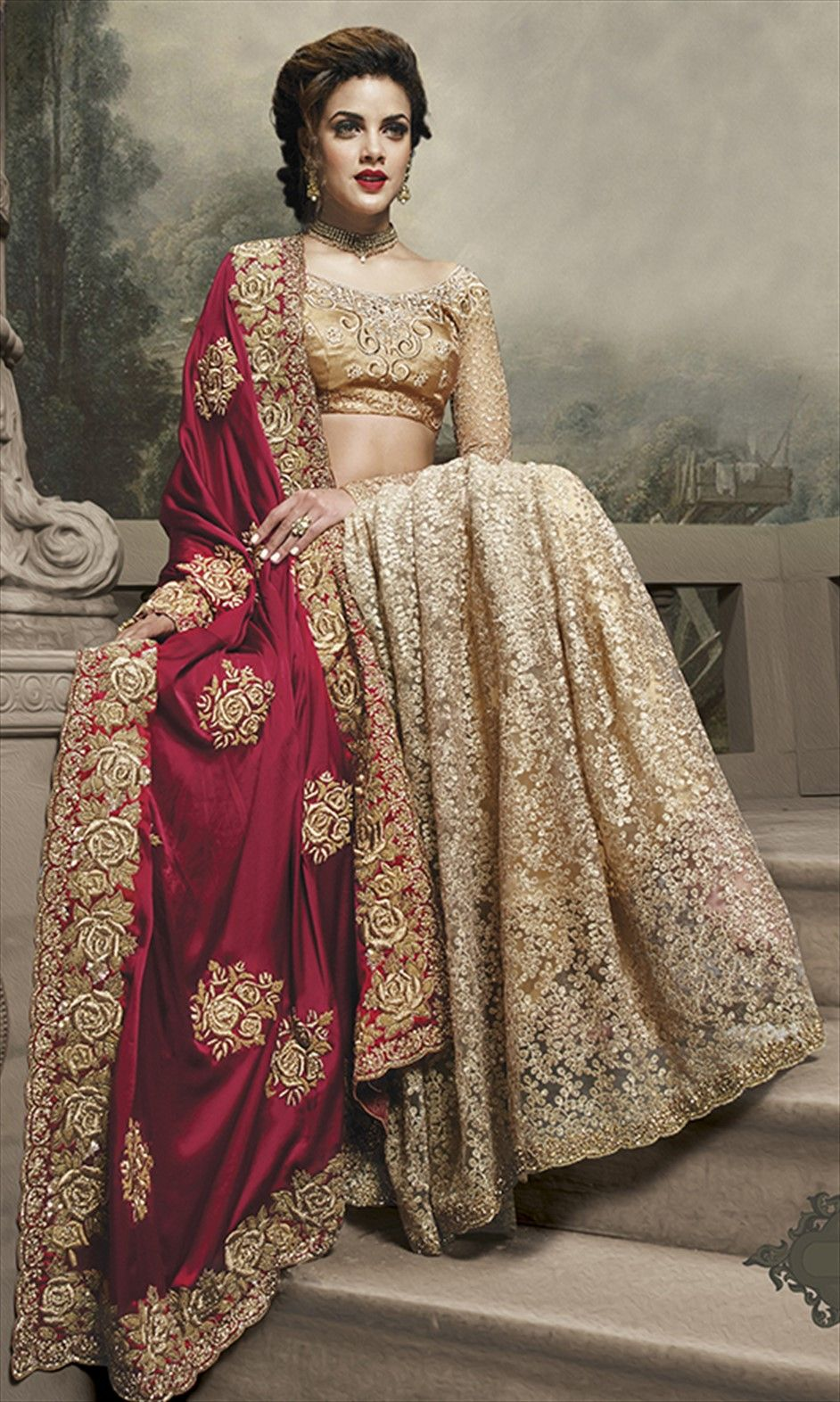 147373: Red and Maroon, Beige and Brown color family Saree with ...