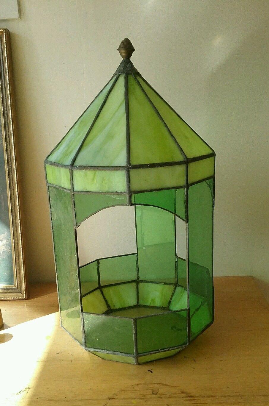 Victorian Glass Terrarium Green Glass Vintage Planter Stunning
