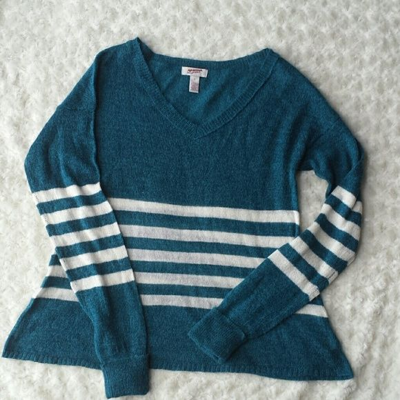 Teal and cream striped a - line sweater Thin and cozy. I love this color! I have a ton of it in my closet :) good condition! Arizona Jean Company Sweaters