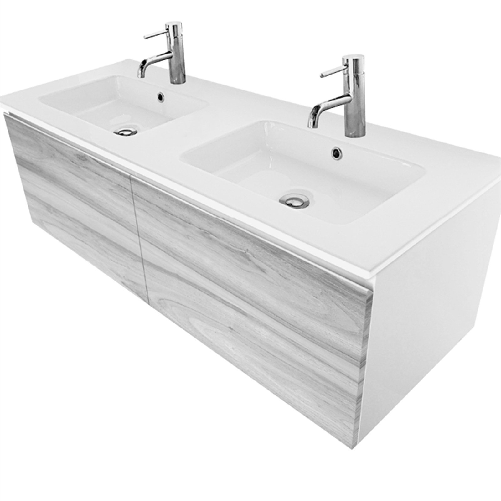 Cibo Design 1200mm Cafe Oak Revive Double Basin Vanity   Basin ...