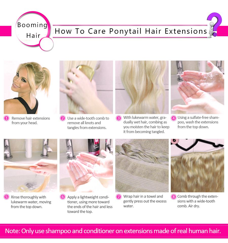 How To Care Ponytail Human Hair Extensions Straight Wrap Around