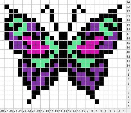 Butterfly Pixel Art Pinterest Broderie