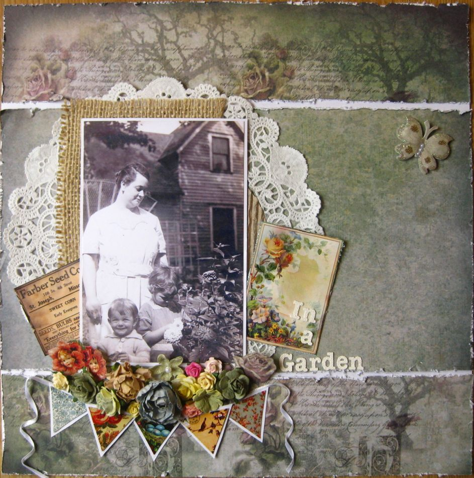 Garden trees background  In a Garden Swirlydoos  scrapbook  page ideas  family history