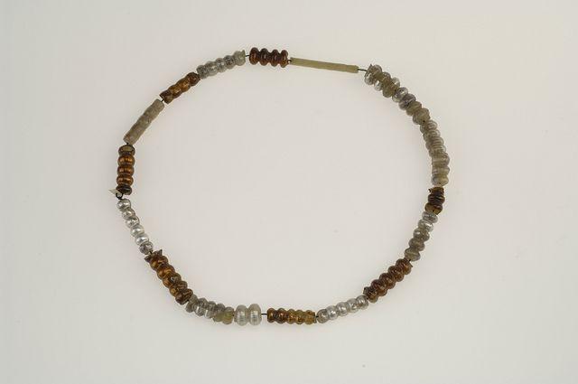 Beads. Glass, silver and gold foil. A total of 19 glass beads covered with silver and gold foil. Grave find, Björkö, Adelsö, Uppland, Sweden.