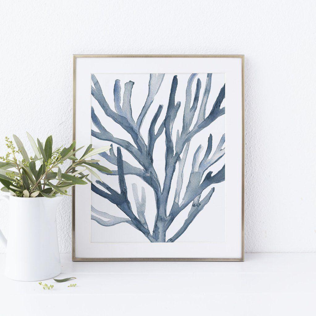 Hamptonus blue coral seaweed art print beach chic decor