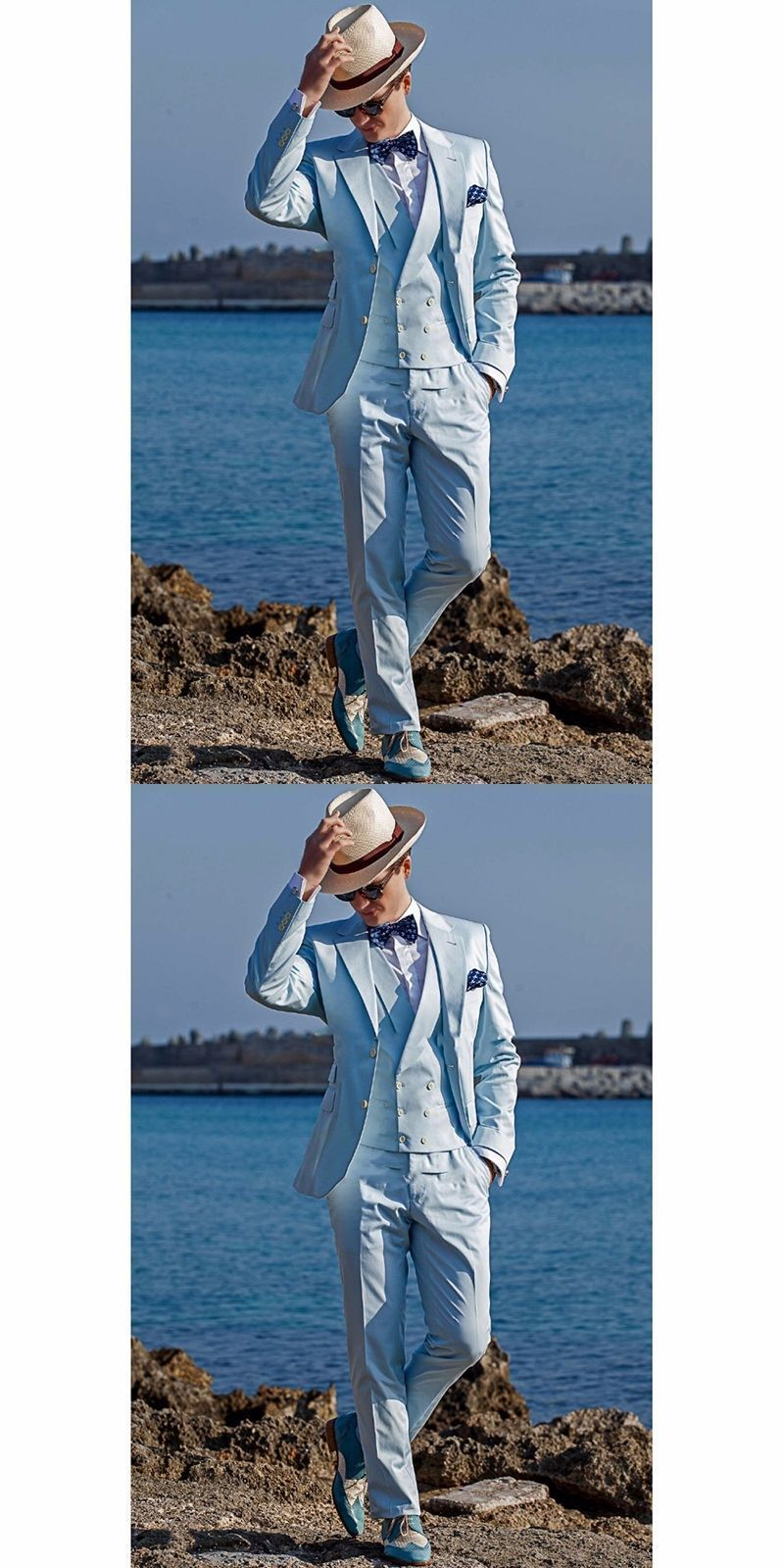 2017 New Groomsmen Notch Lapel Groom men Tuxedos Baby Blue Mens ...