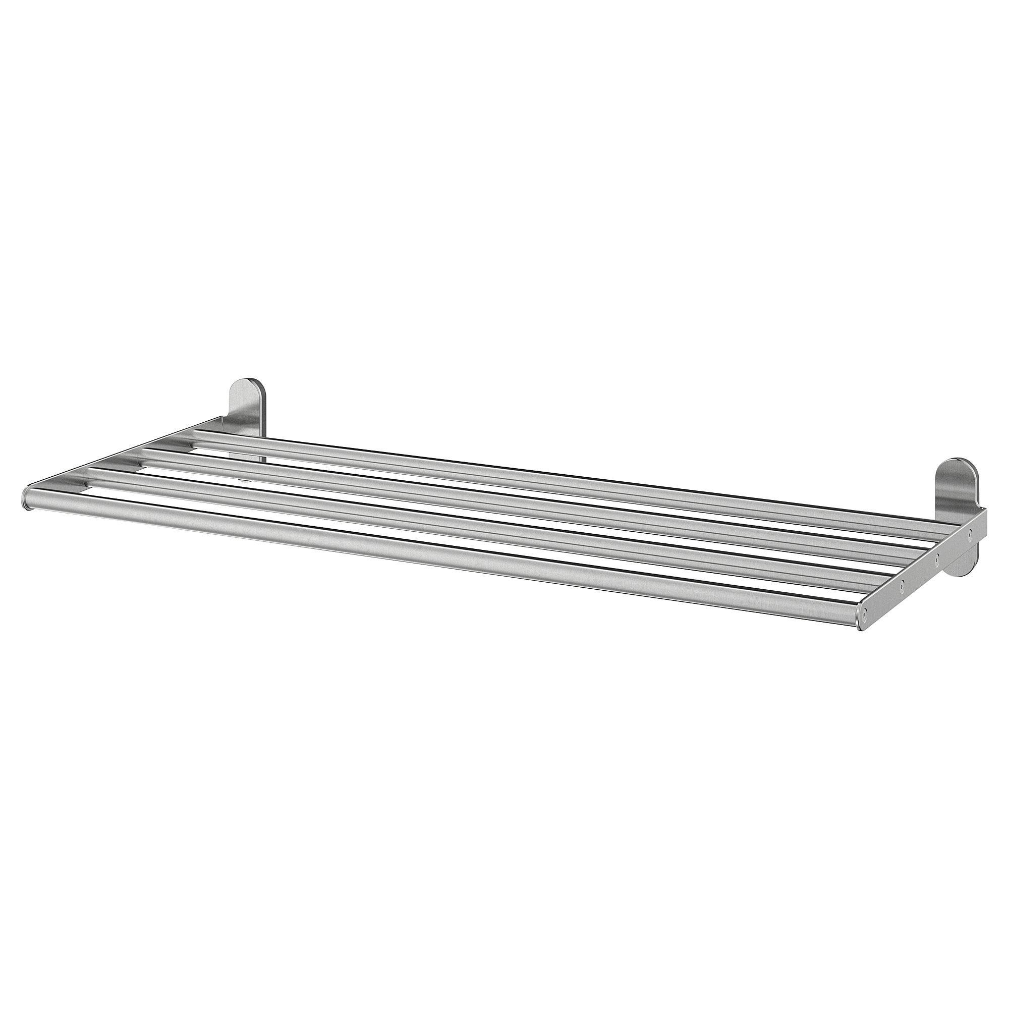 Ikea Brogrund Stainless Steel Wall Shelf With Towel Rail Towel