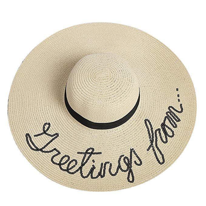 f69dbae50d0 U-WARDROB Womens Big Brim Bowknot Straw Hat Embroidered Sequins Floppy Beach  Cap Sun Hats