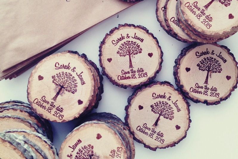 Tree Save the Date Magnets. Wood slices are cut from storm damaged trees and fallen tree branches only. | Green Bride Guide