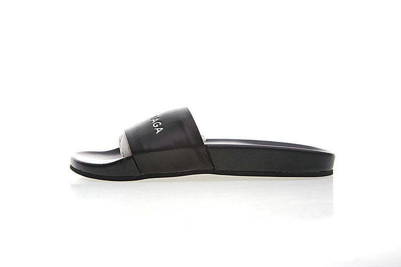 Unisex Balenciaga Logo Leather Slip-On Sandals Black White 72ZE-C328 ... 556c8b26b0