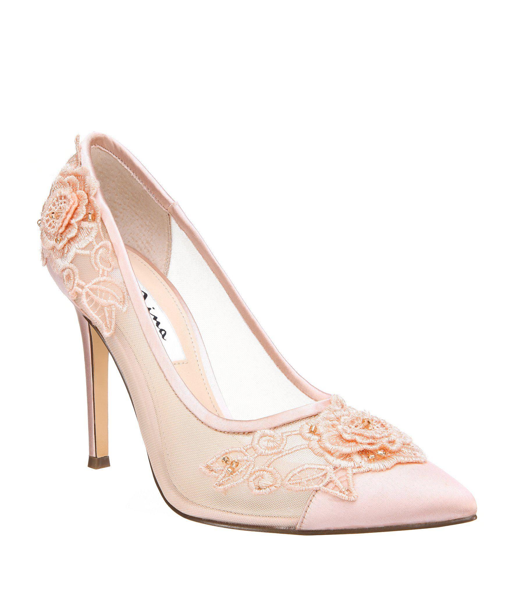 88ba18136d7 Nina Donela Satin and Mesh Rose Applique Embellishment Pumps  Dillards