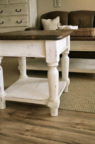 Distressed Off White And Brown Coffee Table And 1 End Tablesolid