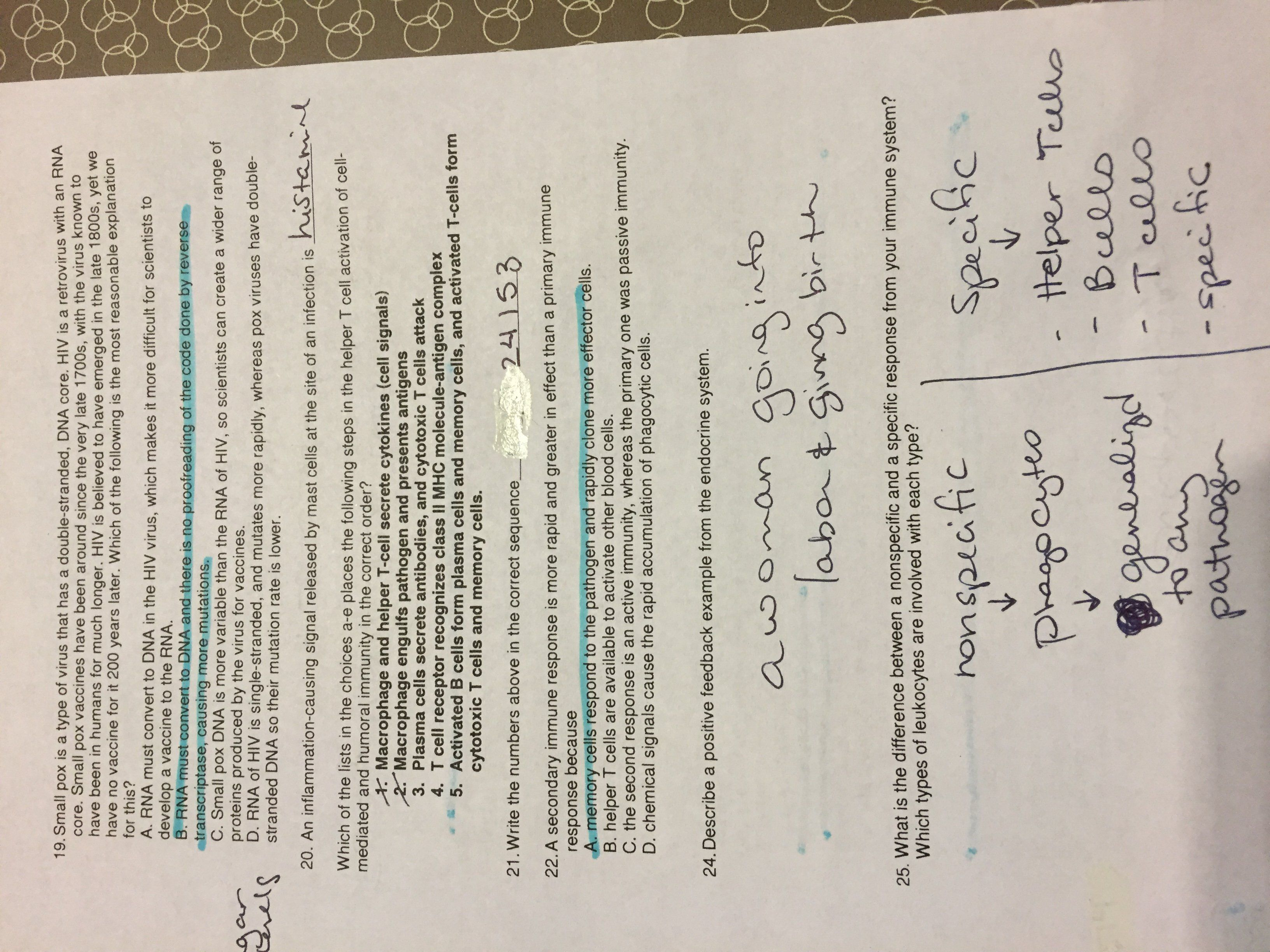 Primary And Secondary Immune Response Worksheet Answers Biology Review Ap Biology Worksheets