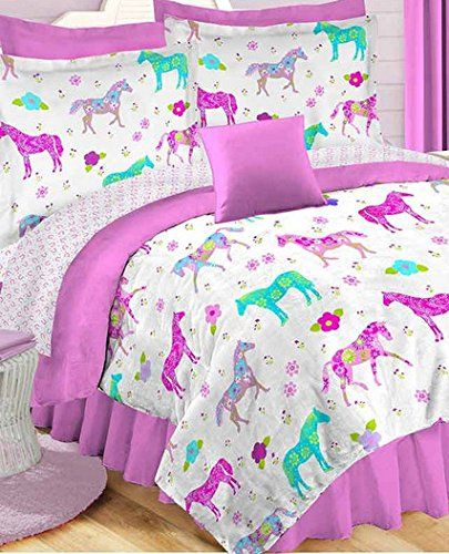 Girls Pony On Parade Horse Queen Comforter Sheets Amp Shams