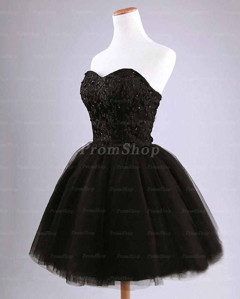 Strapless ball gown sweetheart beading lace tulle short prom dresses
