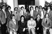 Some of the 1980 US Olympic Hockey Team.  Front Row:  Suter, Wells, Ramsey, Gary Smith, Craig Patrick. Back Row:  Verchota, Schneider, Janaszak, Bob Fleming, O'Callahan, Strobel, Harrington, Ralph Jazinski, Pavelich and Broten.