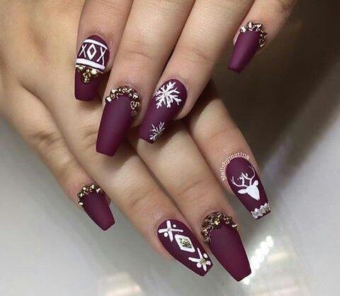Maroon Matte Christmas Nails Beauty Nails Design Festival Nails Coffin Nails Designs
