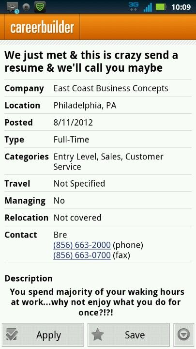 Call Me Maybe job resume I ran into on CareerBuilder Lols - resume career builder