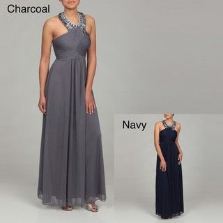 Morgan & Co. Junior's Beaded Neck Ruched Dress | Overstock.com  $90, i dont remeber if we were going with blush and grey or blush and gold