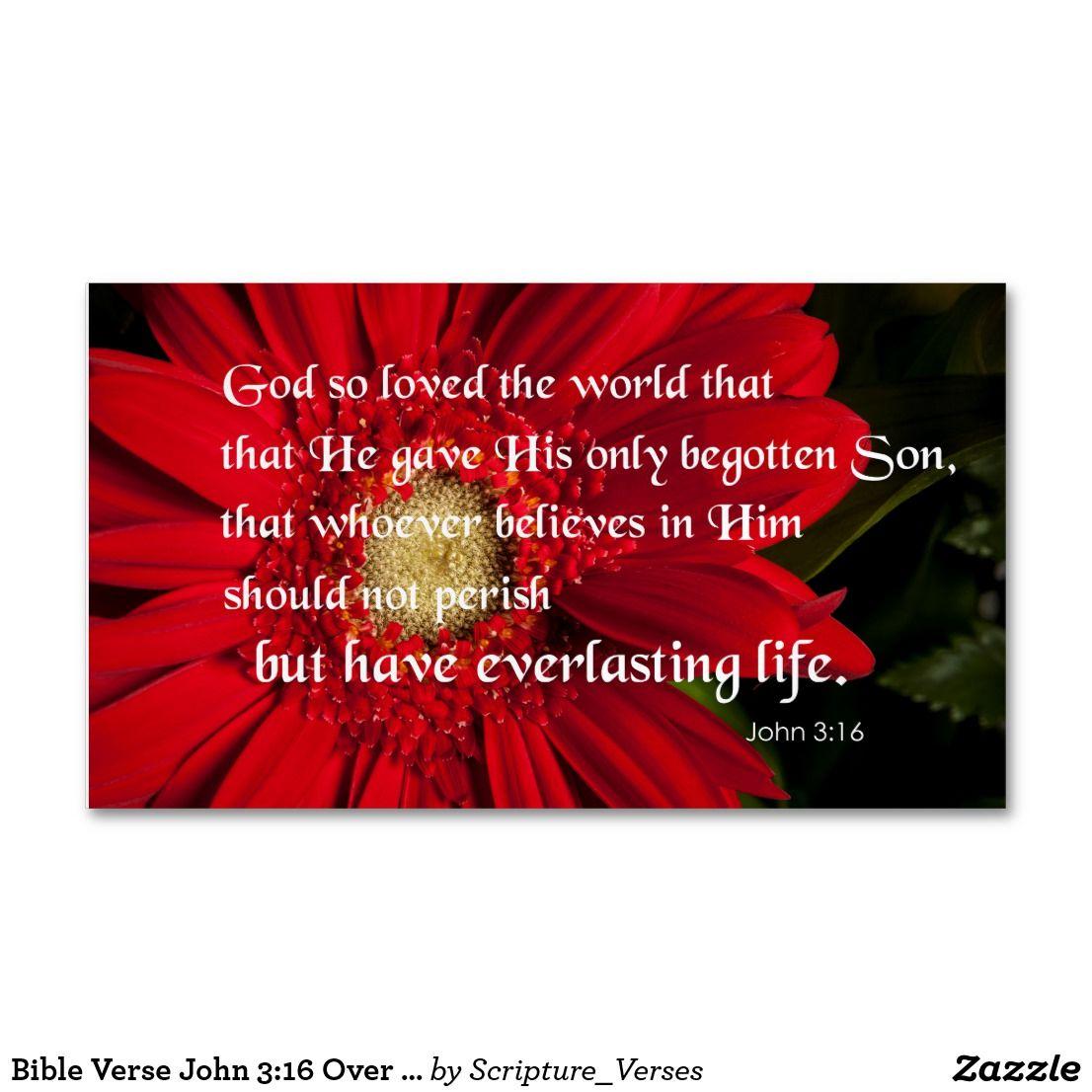 Bible Verse John 3:16 Over a Flower Business Card | Business cards