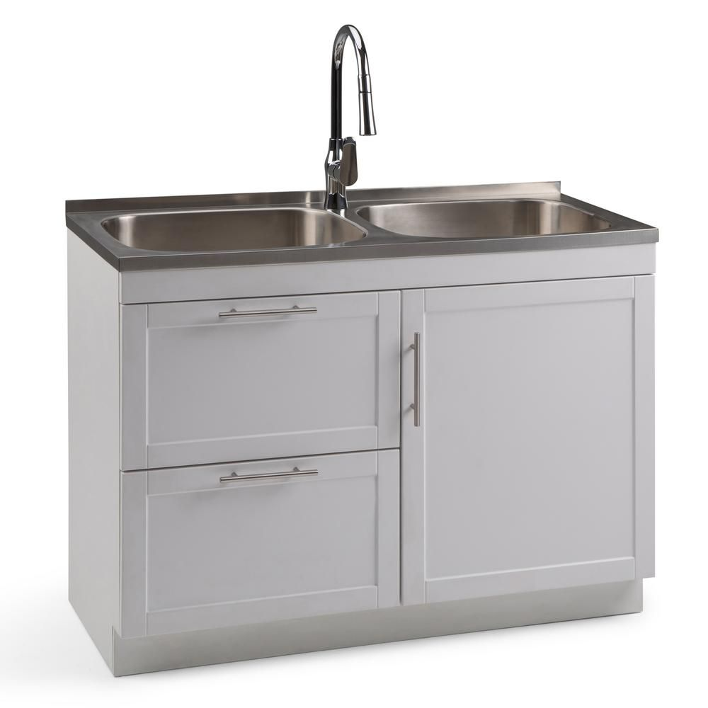 Simpli Home Seiger 46 In W X 20 In D X 35 In H Laundry Cabinet With Pull Out Faucet And Dual Stainless Steel Laundry Utility Sink Axcldysei 40 In 2020 Laundry Cabinets Sink Stainless