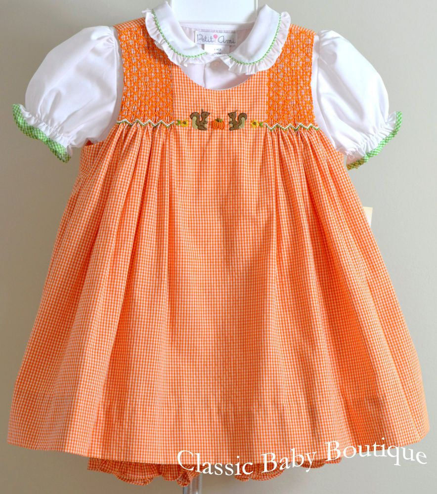77c28738abfe NWT Petit Ami Fall Pumpkin Smocked Dress 12 18 24 Months Bloomers ...