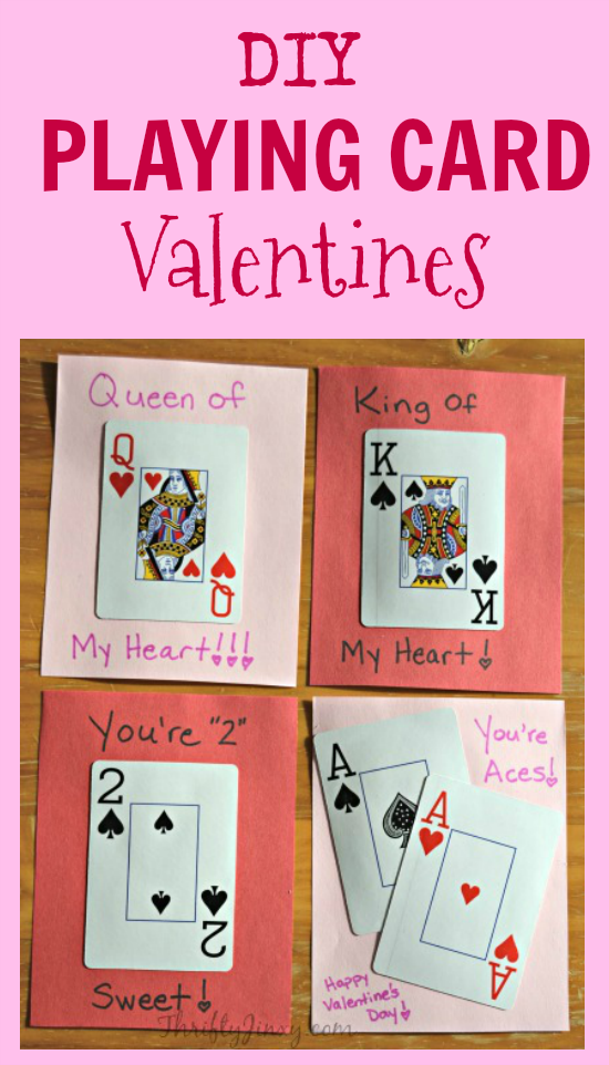 Diy Playing Card Valentines Are Fun To Make Using A Deck Of Ordinary Playing Cards Playing Card Crafts Diy Playing Cards Funny Valentines Cards