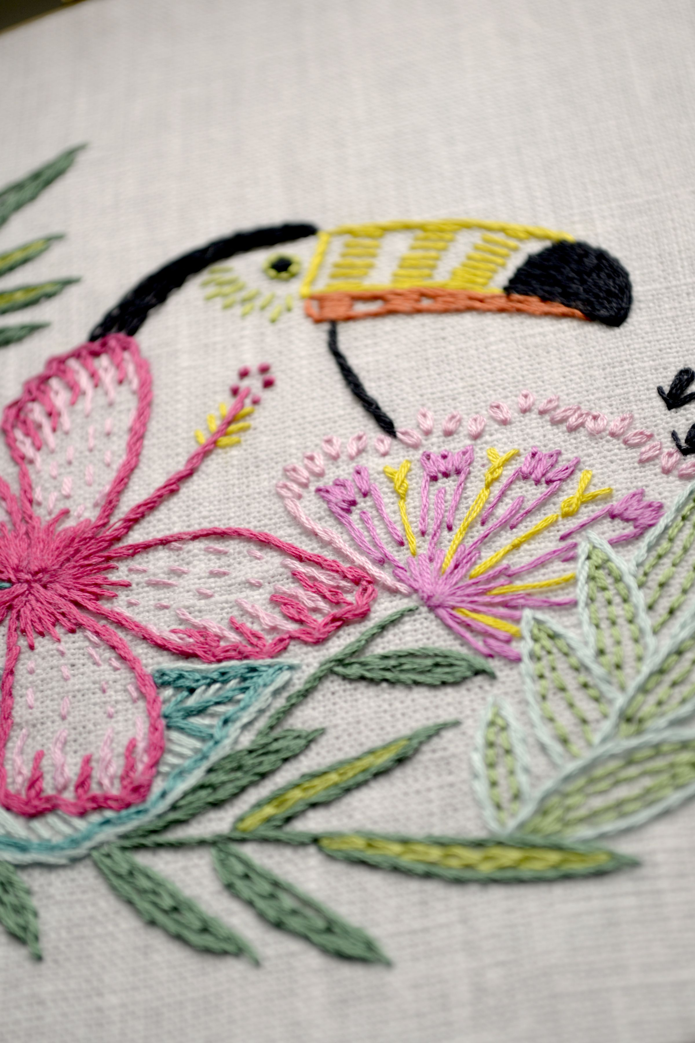 Embroidery Pattern, Tropical Leaf, Hand Embroidery, Tropical Bird, Toucan, Flowers